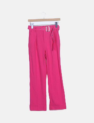 Pantalón fluid rosa acampanado