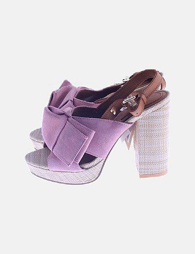 Sandalia rafia rosa