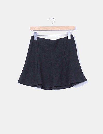 Mini falda godets negro evasé