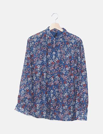 Camisa azul estampado floral