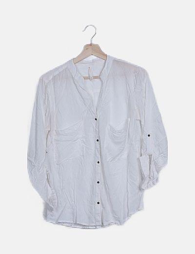 Camisa blanca manga fruncida