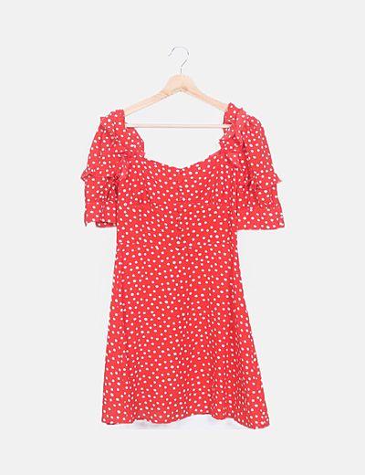 Vestido rojo topos manga volantes