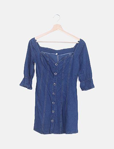 Vestido mini denim azul oscuro