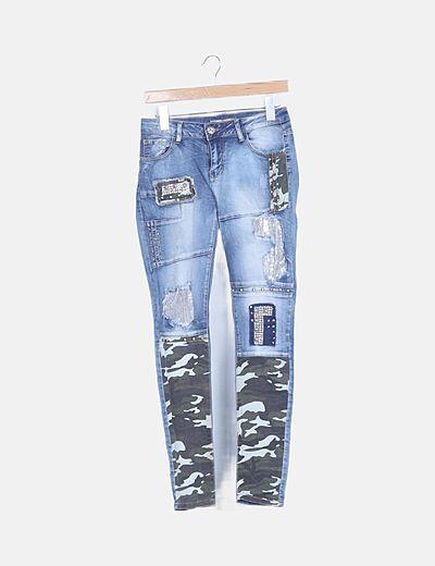 Jeans denim combinado