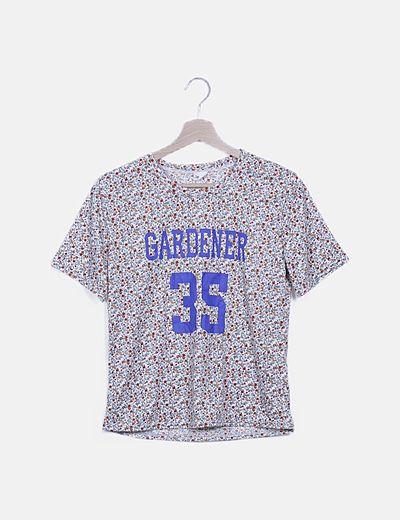 Camiseta floral letter print