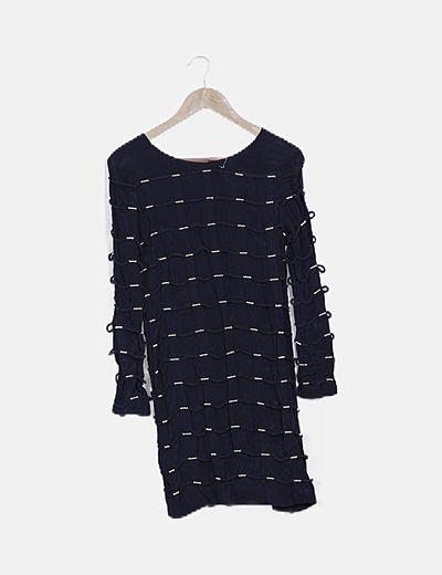 Vestido cordones navy negro