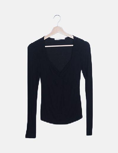 Camiseta canalé negra