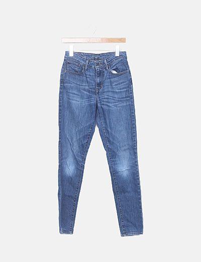 Jeans skinny denim azul desgastado