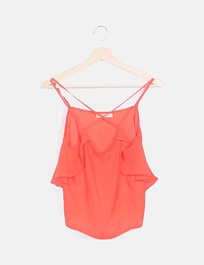 Camiseta naranja volantes