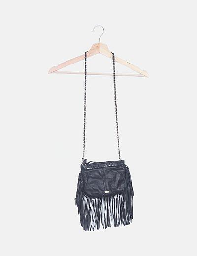 Bolso mini cuero negro con flecos