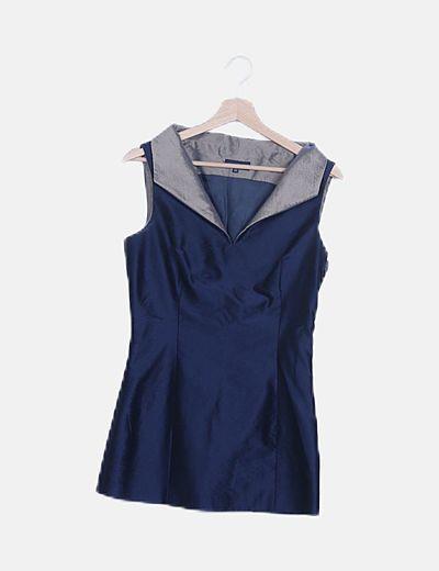 Conjunto top y pantalón azul satinado