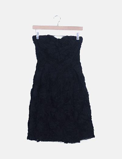 Vestido palabra de honor negro plisado