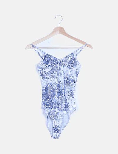 Body blanco print azul