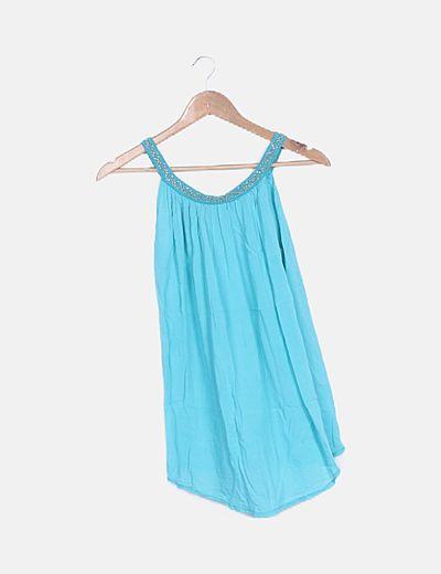 Blusa azul cuello glitter