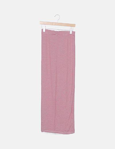 Falda tubo rayas roja