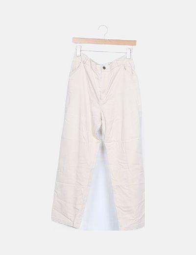 Pantalón beige corte recto