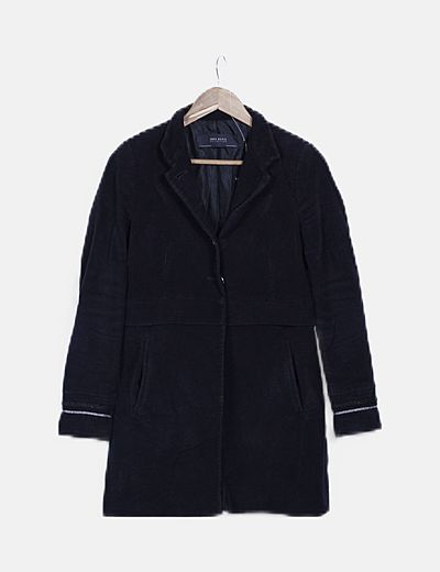 Abrigo negro abotonado detalle glitter