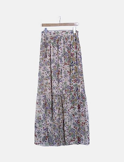 Maxi falda beige floral
