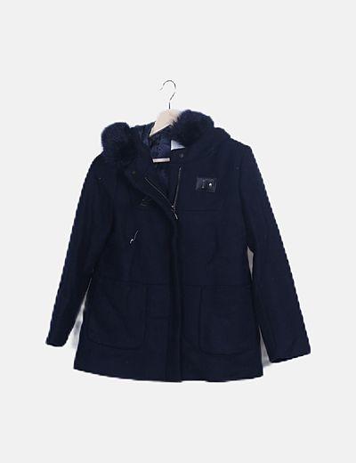 Abrigo paño azul marino con capucha