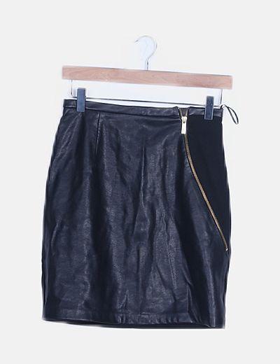 Mini falda negra polipiel combinada