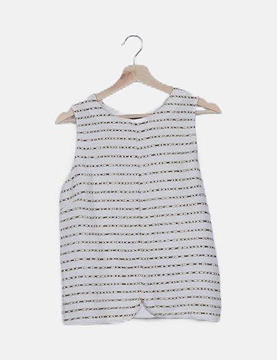 Blusa tricot blanca combinada