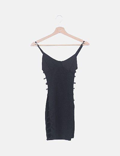 Vestido negro gliter laze up