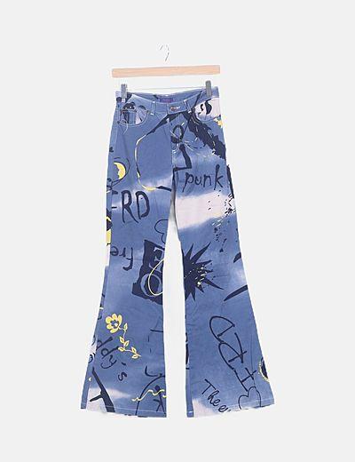 Pantalón palazo azul estampado