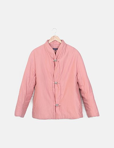 Abrigo plumas rosa