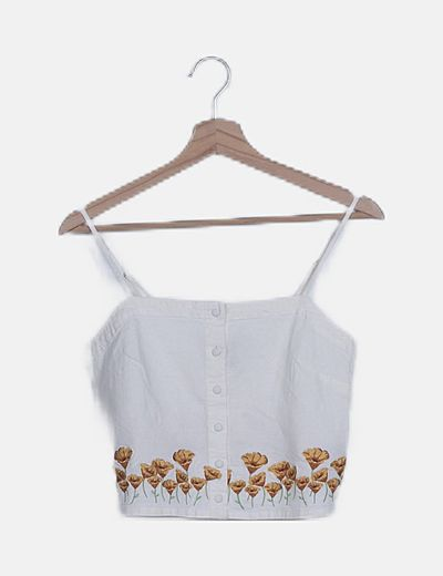 Crop top blanco flor bordada