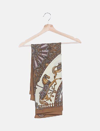 Pañuelo marrón print combinado