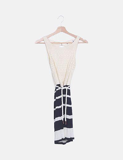 Vestido combinado rayas
