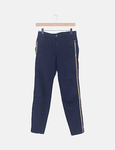 Jeans azul marino banda lateral vevet mostaza