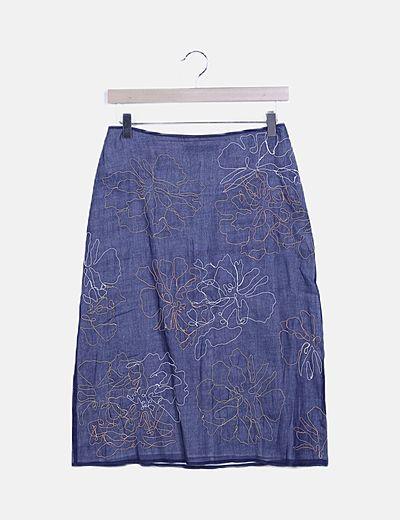 Falda azul marino bordados