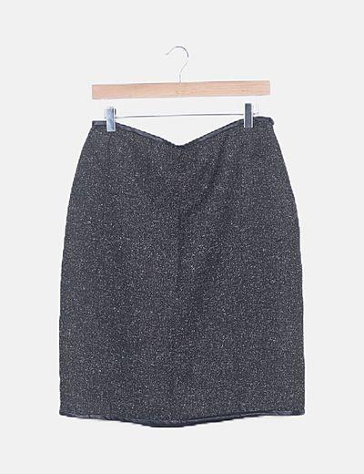 Falda gris jaspeada