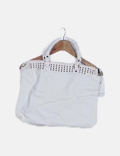 Bolso shopper blanco tachas