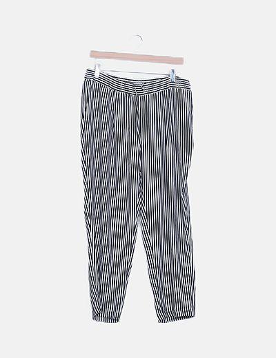 Pantalón fluido rayas bicolor