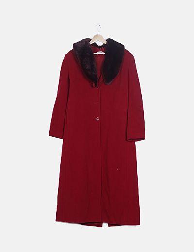 Abrigo paño rojo con pelo