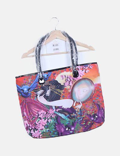 Bolso shopper estampado multicolor