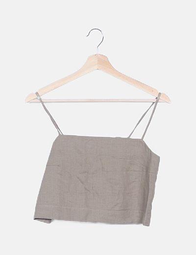 Conjunto pantalón y camiseta lino caqui