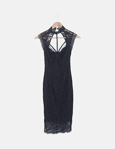 Vestido midi negro troquelado floral