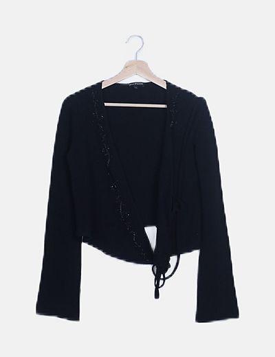 Torera tricot negra detalle paillettes