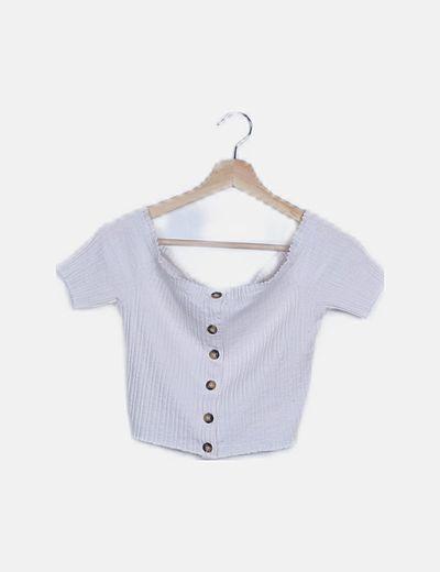 Camiseta bardot blanca abotonada