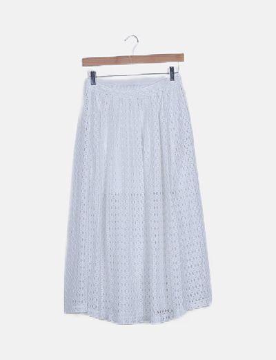 Falda maxi blanca encaje