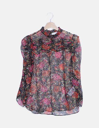 Camisa semitransparente estampado floral glitter