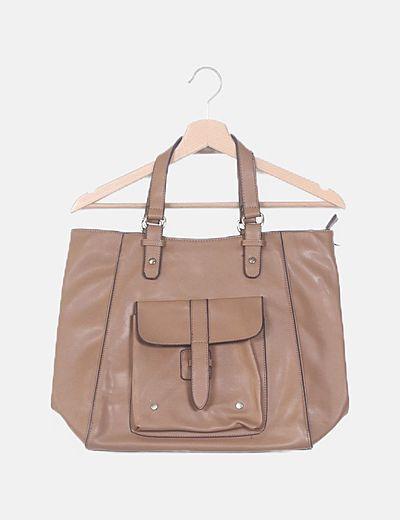 Bolso shopper marrón