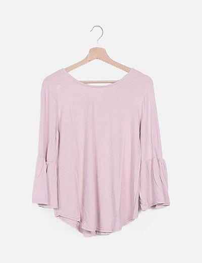 Camiseta rosa lace up