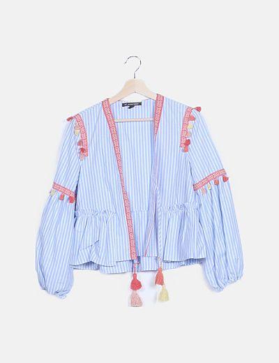 Kimono boho rayas azules mangas bombacho