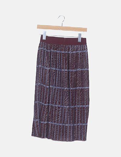 Falda plisada burdeos estampada