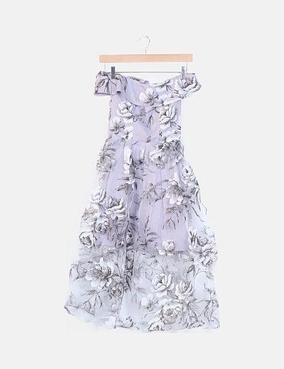 Vestido gasa gris floral