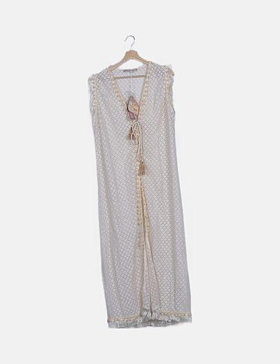 Chaleco crochet borlas largo